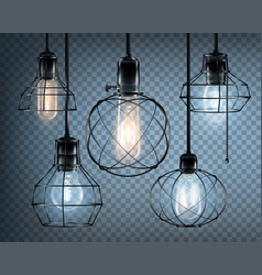 loft style lights icon set vector image vector image