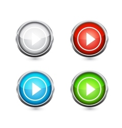 Play button set vector image vector image
