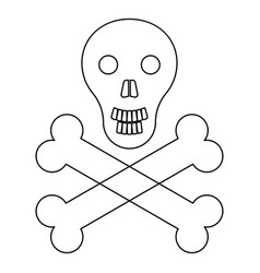 Skull and bones the black color icon vector