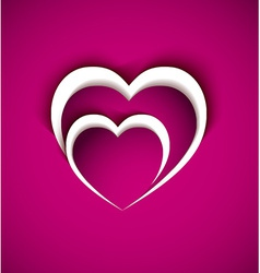 two heart from paper with shadow effect vector image