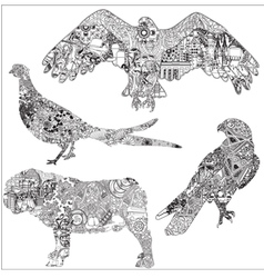 A set of animals with patterns vector image vector image