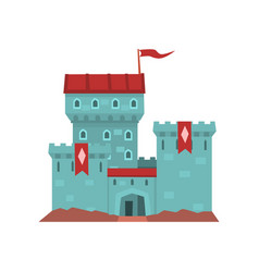 Cartoon blue castle with red heraldic flags on vector
