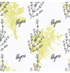 Hand drawn thyme branch and handwritten sign vector image vector image