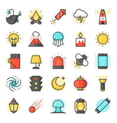 light source from natural and daily life icon vector image