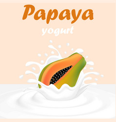 a splash of milk from a falling papaya and drops vector image vector image