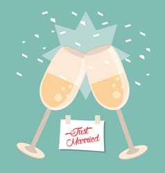 Just married glass cups celebration vector