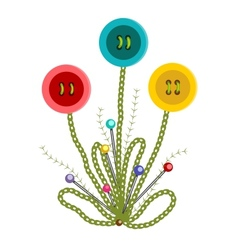 Colorful Embroidered Buttons Flowers vector image vector image