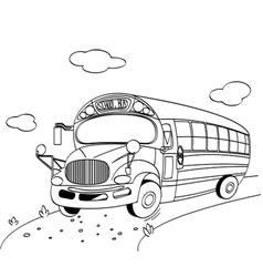 coloring page of a school bus vector image vector image