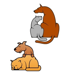 Domestic pets cat and dog vector image