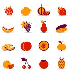 fresh food icons vector image vector image