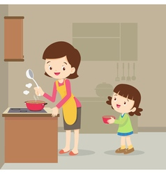 girl and mother cooking in the kitchen vector image vector image