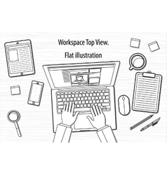 line business office workspace items concept of vector image vector image