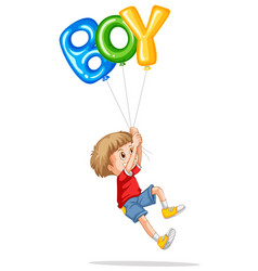 little boy holding balloons for boy vector image