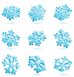 set 3d blue glossy snowflake vector image