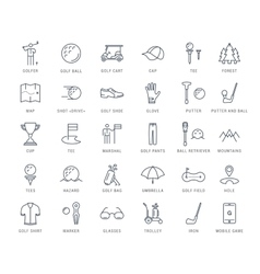 Set flat line icons golf vector