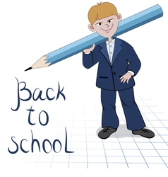 Student boy with great pencil vector image