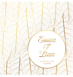 Wedding invitation template tropical leaves dark vector image wedding invitation tropical leaves shiny gold vector image vector image stopboris Images