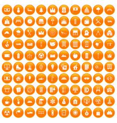 100 villa icons set orange vector