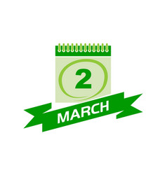 2 march calendar with ribbon vector