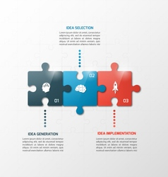 3 steps puzzle style infographic template vector