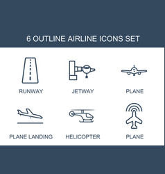 6 airline icons vector