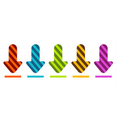 a set colored arrows showing down or download vector image