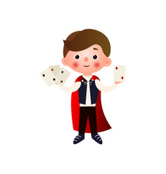a young handsome magician rehearsing his stunts vector image