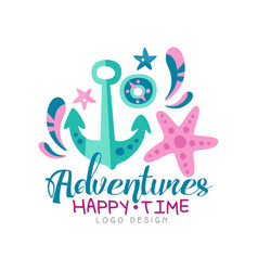 adventures happy time logo design summer vector image