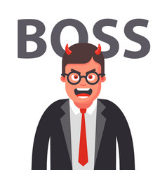 Angry boss with horns displeased face a man in vector