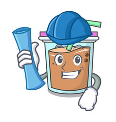 Architect bubble tea character cartoon vector