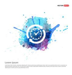 Arrow clock icon - watercolor background vector