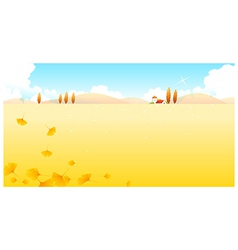 Autumn leaves and landscape vector
