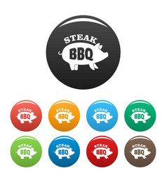bbq steak icons set color vector image