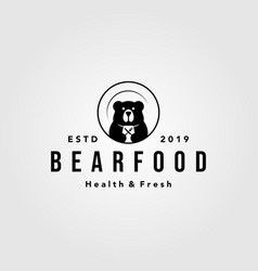 bear food plate logo vintage retro icon vector image