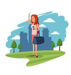 beauty woman tourist city meadow tree landscape vector image