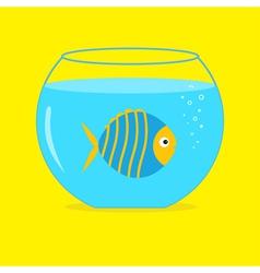 Blue fish in the aquarium Card vector
