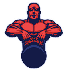 Bodybuilder mascot hold the kettlebell vector