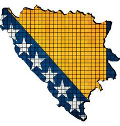 Bosnia and Herzegovina map with flag inside vector image