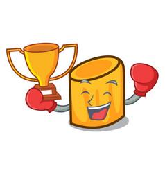 Boxing winner rigatoni mascot cartoon style vector