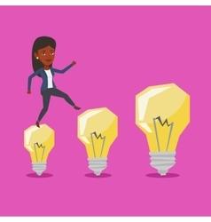 Business woman jumping on idea light bulbs vector