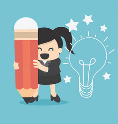 Business woman writing idea and light bulb on wall vector
