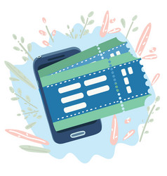 buy tickets with a smartphone booking online vector image