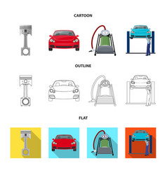 Car on lift piston and pump cartoonoutlineflat vector
