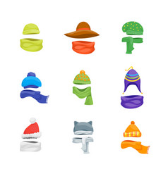 cartoon color winter hats and scarves headwear vector image