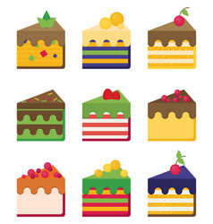 Cheesecake flat set vector