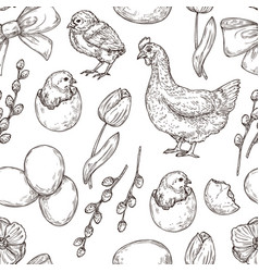 chicken pattern hand drawn art bird spring vector image