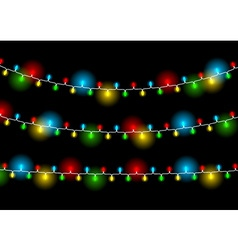 Christmas decoration realistic luminous garland on vector