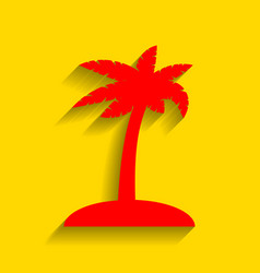 coconut palm tree sign red icon with soft vector image