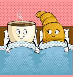 Coffee and croissant in bed pop art vector