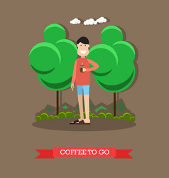 coffee to go concept in flat vector image